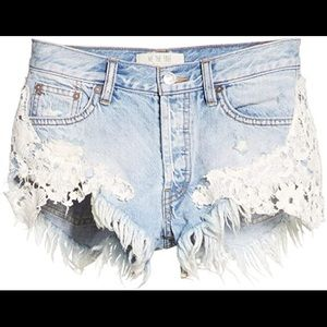 Free People Good Vibrations Embroidered Cutoffs